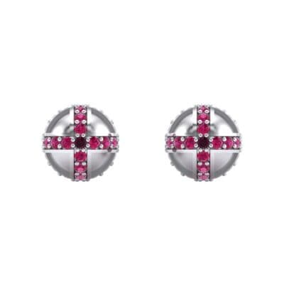 Royal Dome Ruby Earrings (0.82 CTW) Side View