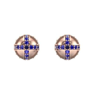 Royal Dome Blue Sapphire Earrings (0.82 CTW) Side View