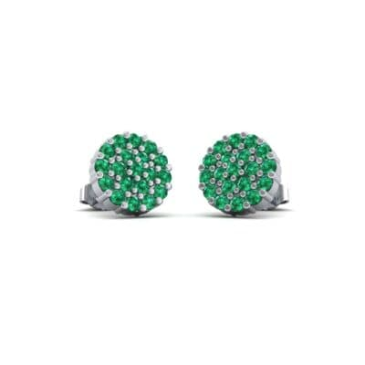 Round Emerald Cluster Earrings (0.76 Carat)