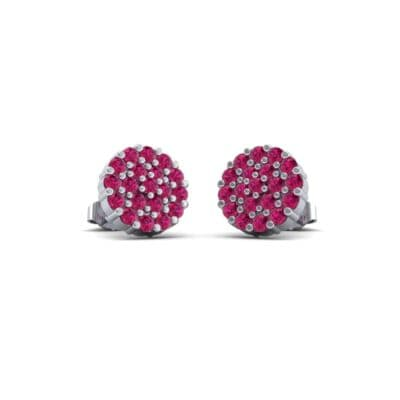 Round Ruby Cluster Earrings (0.76 Carat)