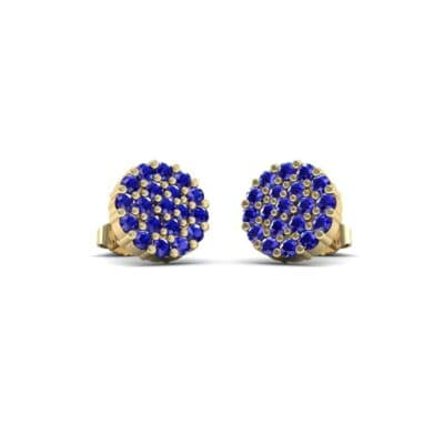 Round Blue Sapphire Cluster Earrings (0.76 Carat)