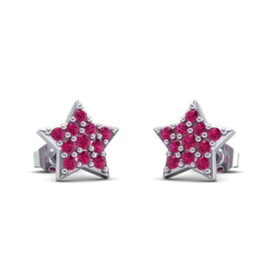 Pave Star Ruby Earrings (0.26 Carat)
