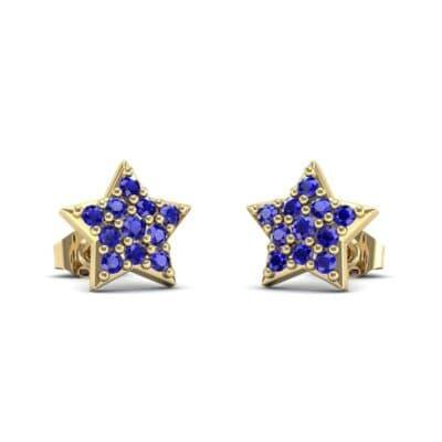 Pave Star Blue Sapphire Earrings (0.26 Carat)