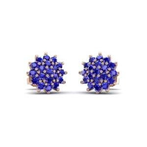 Classic Blue Sapphire Cluster Earrings (1.14 Carat)
