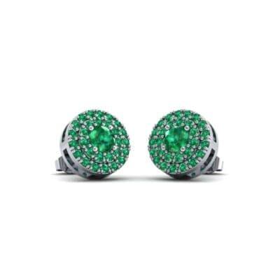 Double Halo Prong-Set Emerald Earrings (1.24 Carat)