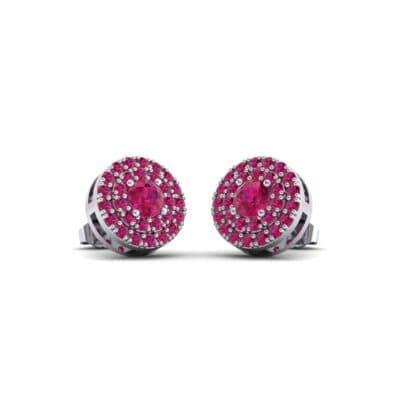 Double Halo Prong-Set Ruby Earrings (1.24 Carat)