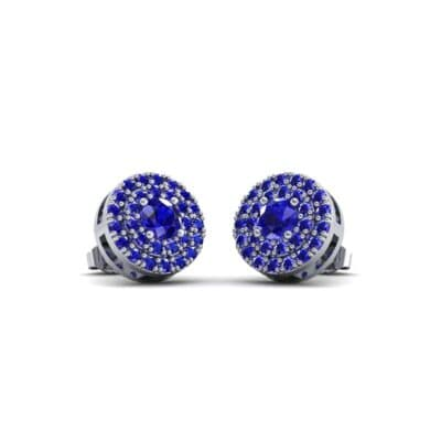 Double Halo Prong-Set Blue Sapphire Earrings (1.24 Carat)