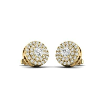 Double Halo Prong-Set Diamond Earrings (1.15 Carat)