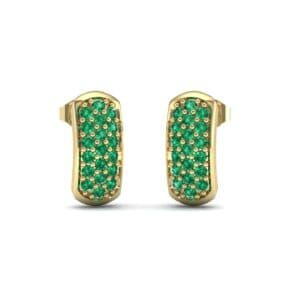 Curved Rectangle Pave Emerald Earrings (0.54 Carat)
