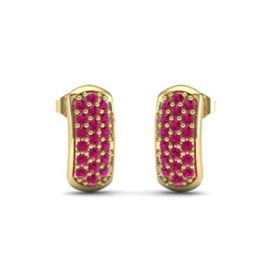 Curved Rectangle Pave Ruby Earrings (0.54 Carat)