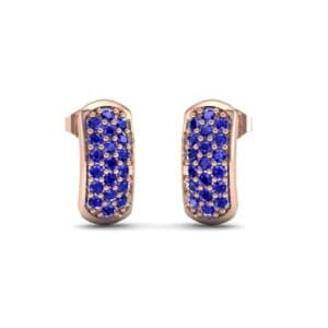 Curved Rectangle Pave Blue Sapphire Earrings (0.54 Carat)