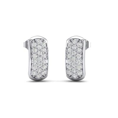 Curved Rectangle Pave Diamond Earrings (0.42 Carat)