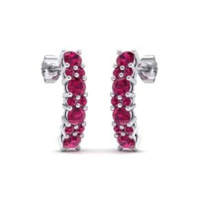 Curved Ruby Bar Earrings (0.88 Carat)