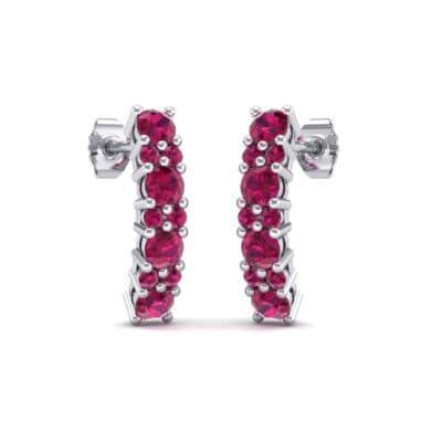 Curved Ruby Bar Earrings (0.88 Carat)