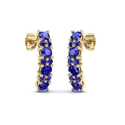 Curved Blue Sapphire Bar Earrings (0.88 Carat)