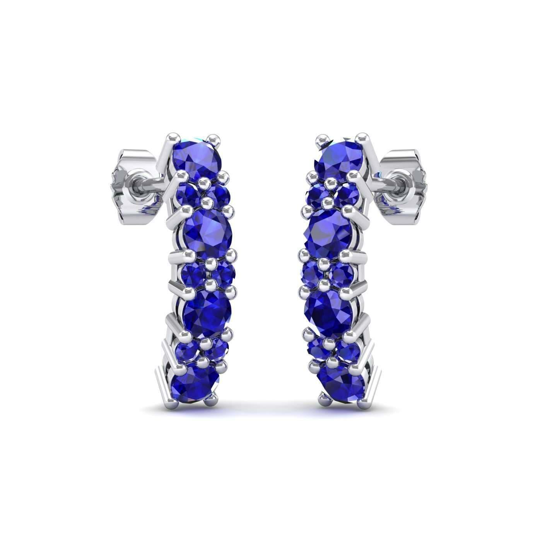 1ad5baa6f Curved Blue Sapphire Bar Earrings (0.88 Carat) • 14K White Gold Blue ...