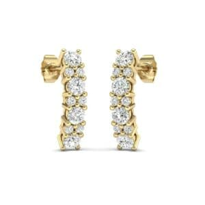 Curved Diamond Bar Earrings (0.61 Carat)