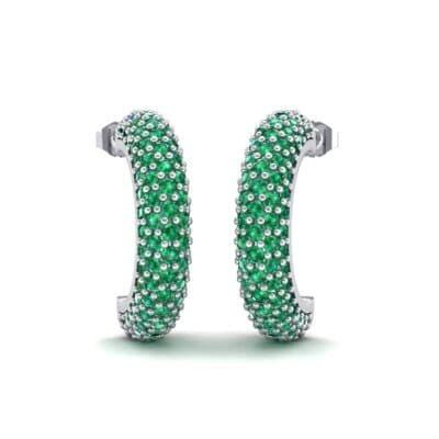 Half-Hoop Pave Emerald Earrings (2.53 Carat)