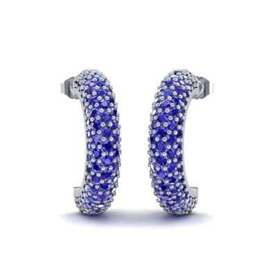 Half-Hoop Pave Blue Sapphire Earrings (2.53 Carat)