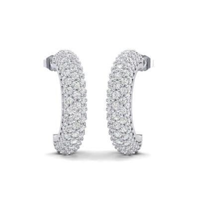 Half-Hoop Pave Diamond Earrings (1.92 Carat)