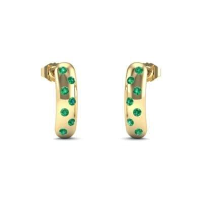 Curved Rectangle Bezel-Set Emerald Earrings (0.2 Carat)