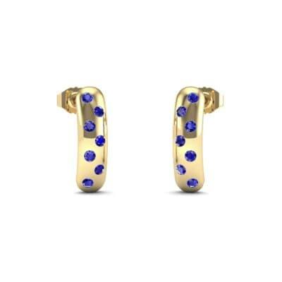 Curved Rectangle Bezel-Set Blue Sapphire Earrings (0.2 Carat)
