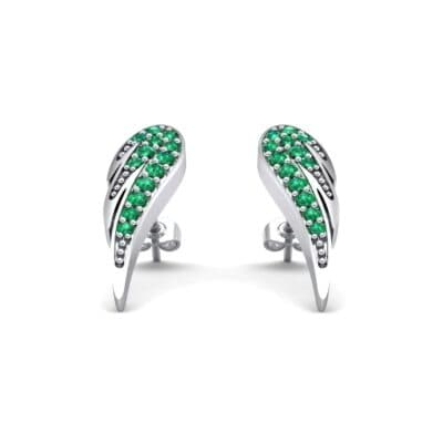 Angel Wing Emerald Earrings (0.43 CTW) Perspective View