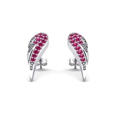 Angel Wing Ruby Earrings (0.43 CTW) Perspective View