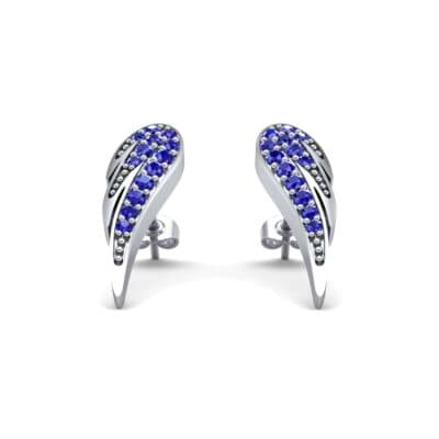 Angel Wing Blue Sapphire Earrings (0.43 CTW) Perspective View