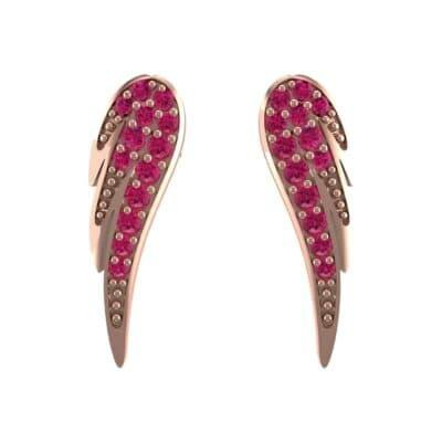Angel Wing Ruby Earrings (0.43 CTW) Side View