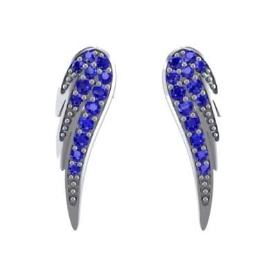 Angel Wing Blue Sapphire Earrings (0.43 CTW) Side View