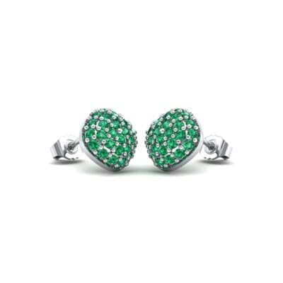 Pave Cushion Emerald Earrings (0.79 CTW) Perspective View