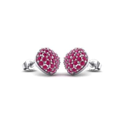 Pave Cushion Ruby Earrings (0.79 CTW) Perspective View