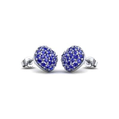 Pave Cushion Blue Sapphire Earrings (0.79 CTW) Perspective View