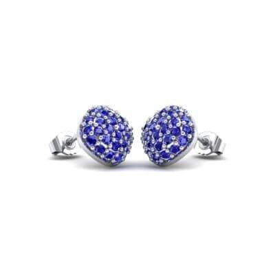 Pave Cushion Blue Sapphire Earrings (0.79 Carat)