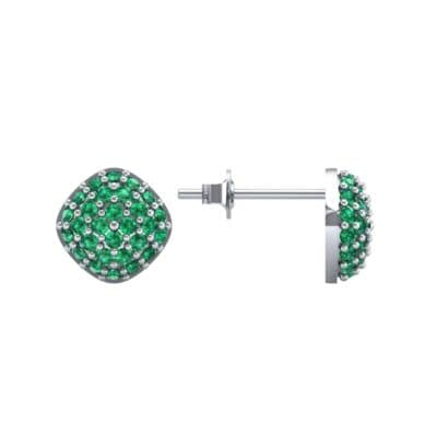 Pave Cushion Emerald Earrings (0.79 CTW) Top Dynamic View
