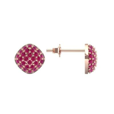 Pave Cushion Ruby Earrings (0.79 CTW) Top Dynamic View