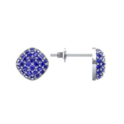 Pave Cushion Blue Sapphire Earrings (0.79 CTW) Top Dynamic View