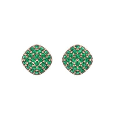 Pave Cushion Emerald Earrings (0.79 CTW) Side View