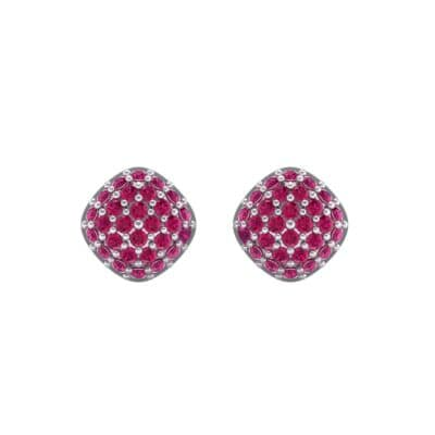 Pave Cushion Ruby Earrings (0.79 CTW) Side View