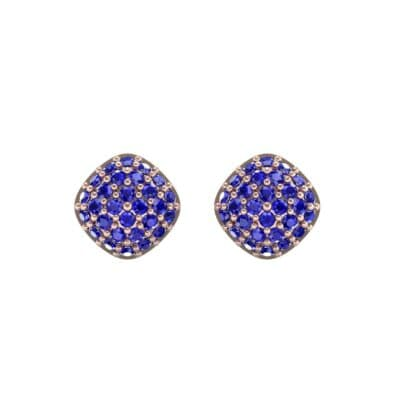 Pave Cushion Blue Sapphire Earrings (0.79 CTW) Side View