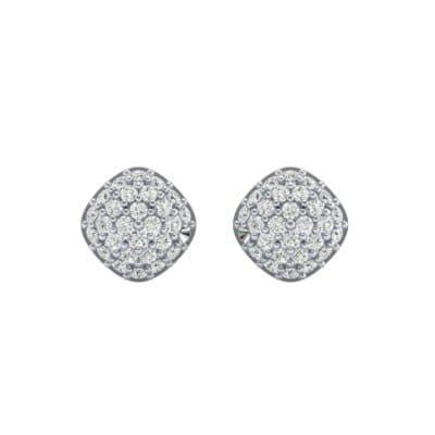 Pave Cushion Diamond Earrings (0.62 CTW) Side View