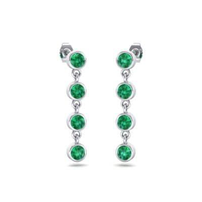 Bezel-Set Four-Stone Emerald Drop Earrings (1.28 Carat)