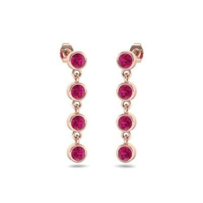 Bezel-Set Four-Stone Ruby Drop Earrings (1.28 Carat)