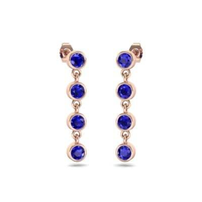 Bezel-Set Four-Stone Blue Sapphire Drop Earrings (1.28 Carat)