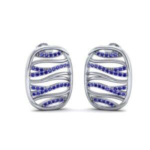 Rivers Blue Sapphire Tablet Earrings (0.44 Carat)