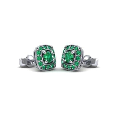 Square Halo Emerald Earrings (1.09 Carat)