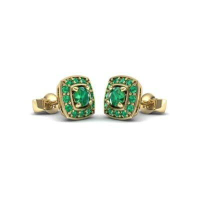 Square Halo Emerald Earrings (1.09 CTW) Perspective View