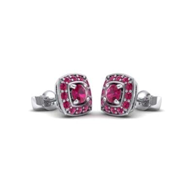 Square Halo Ruby Earrings (1.09 Carat)