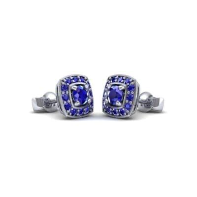 Square Halo Blue Sapphire Earrings (1.09 Carat)
